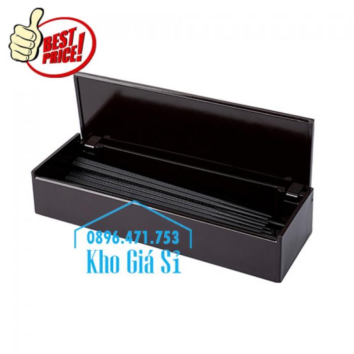 Bán hộp đựng đũa muỗng có nắp màu đen, Hộp đựng đũa muỗng màu đen có ngăn kéo Bình Dương2