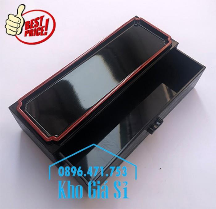 Bán hộp đựng đũa muỗng có nắp màu đen, Hộp đựng đũa muỗng màu đen có ngăn kéo Bình Dương7