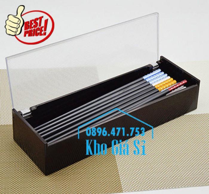 Bán hộp đựng đũa muỗng có nắp màu đen, Hộp đựng đũa muỗng màu đen có ngăn kéo Bình Dương10
