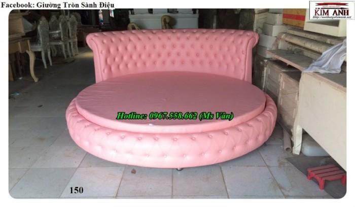 giường tròn màu hồng cong chúa3