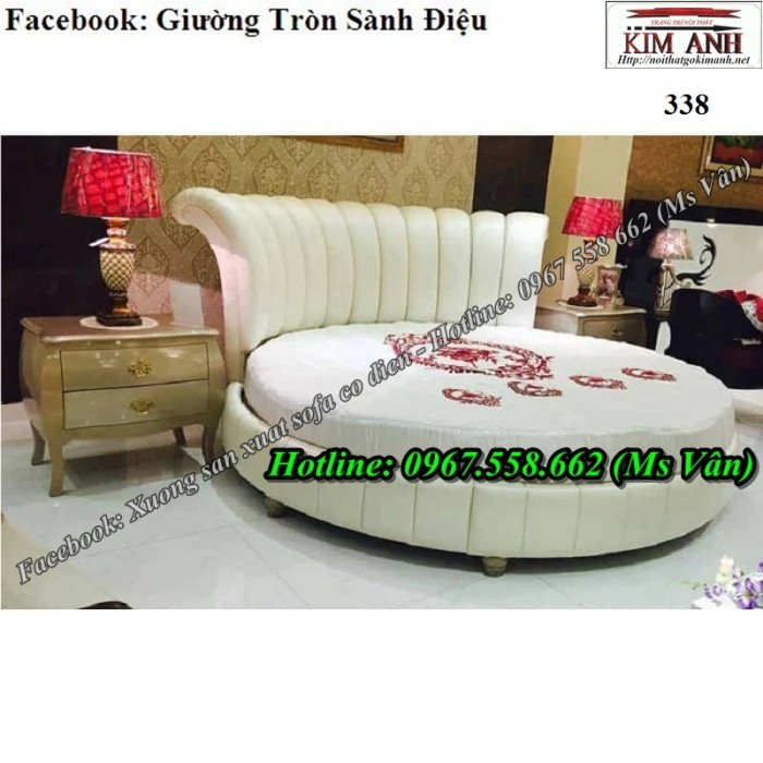 mẫu giường ngủ hình tròn màu trắng sang trọng5