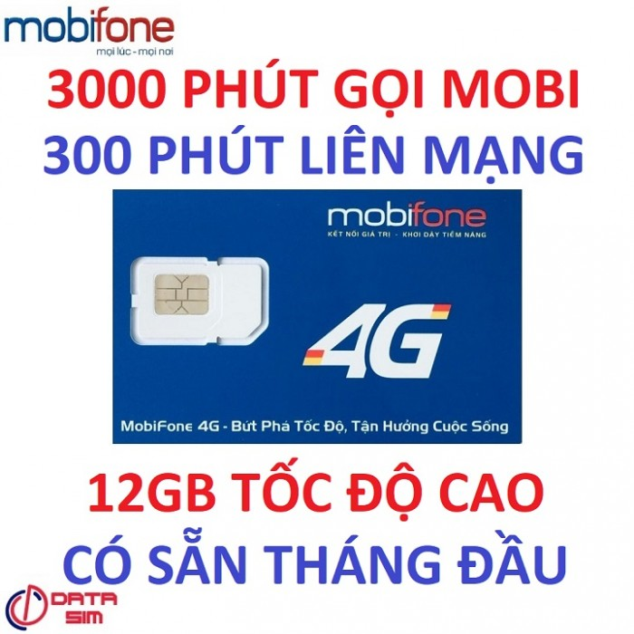 Sim 4G mobifone 3000phút nội mạng 300phút liên mạng 12GB tốc độ cao có sẵn tháng đầu0