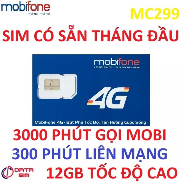 Sim 4G mobifone 3000phút nội mạng 300phút liên mạng 12GB tốc độ cao có sẵn tháng đầu1