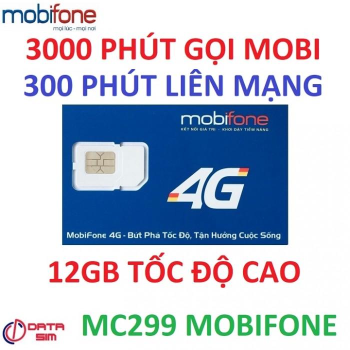 Sim 4G mobifone 3000phút nội mạng 300phút liên mạng 12GB tốc độ cao có sẵn tháng đầu3