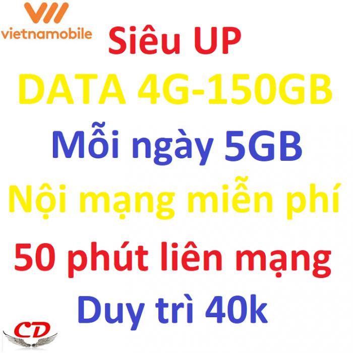 Siêu thánh sim UP- 4G VNMB miễn phí max 5GB data mỗi ngày1