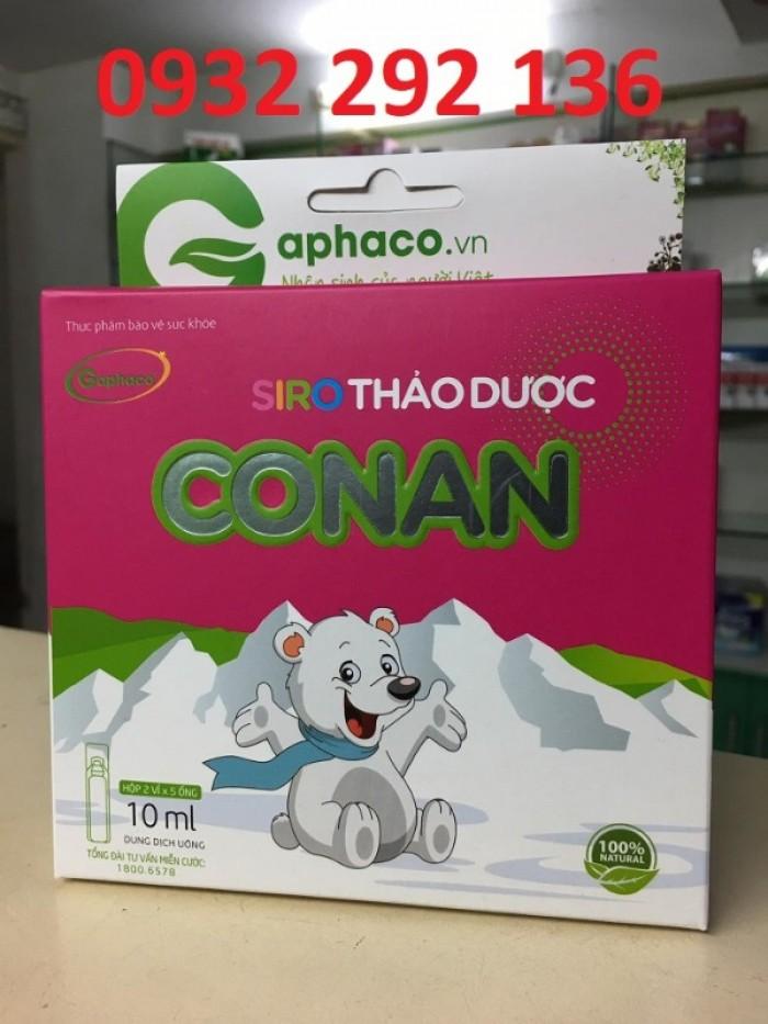 Siro thảo dược Conan giúp giảm ho, long đờm, giảm tình trạng sổ mũi, ho, do nhiễm lạnh.0