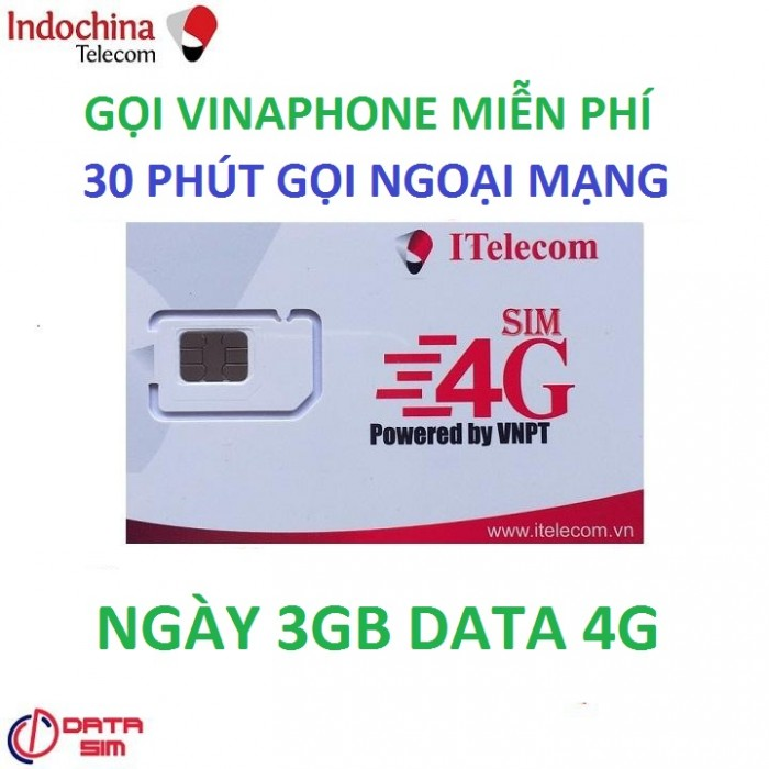 SIM itelecom vinaphone nội mạng miễn phí 90gb data 30 phút gọi ngoại mạng 0đ0