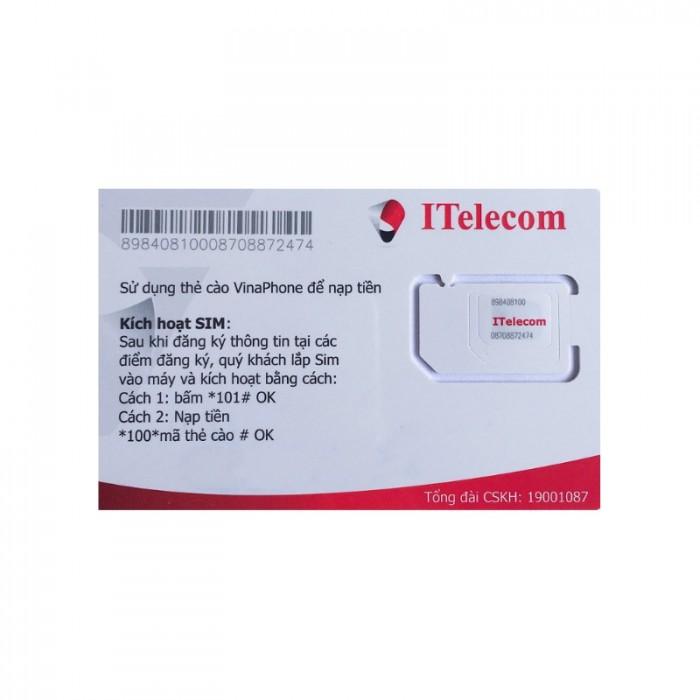 SIM itelecom vinaphone nội mạng miễn phí 90gb data 30 phút gọi ngoại mạng 0đ1