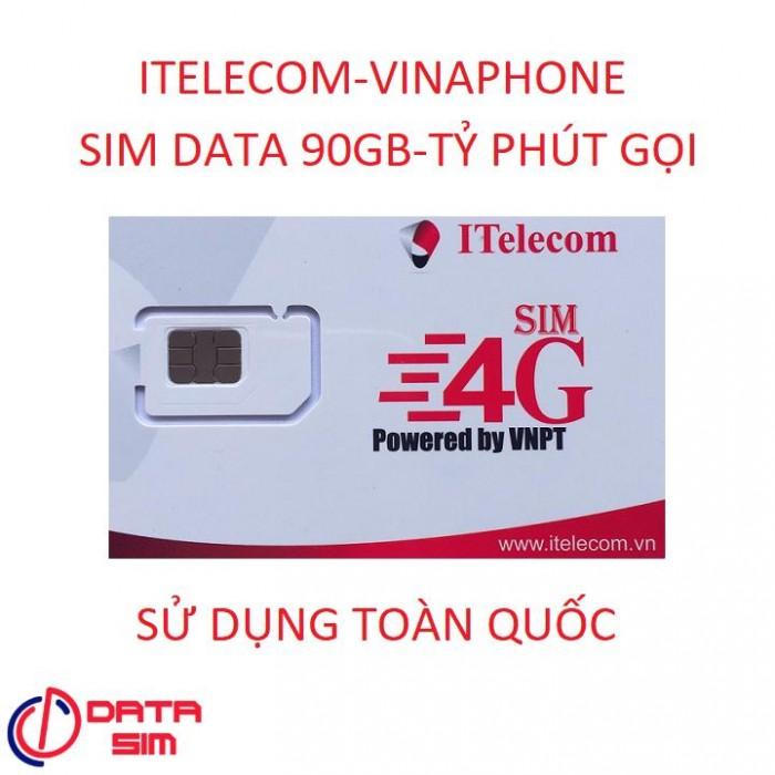 SIM itelecom vinaphone nội mạng miễn phí 90gb data 30 phút gọi ngoại mạng 0đ2