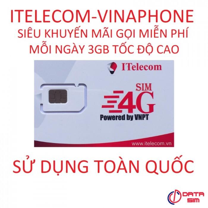 SIM itelecom vinaphone nội mạng miễn phí 90gb data 30 phút gọi ngoại mạng 0đ3