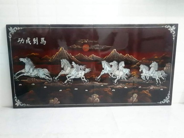 tranh sơn mài khảm trai Mã Đáo Thành Công còn đẹp 95%2