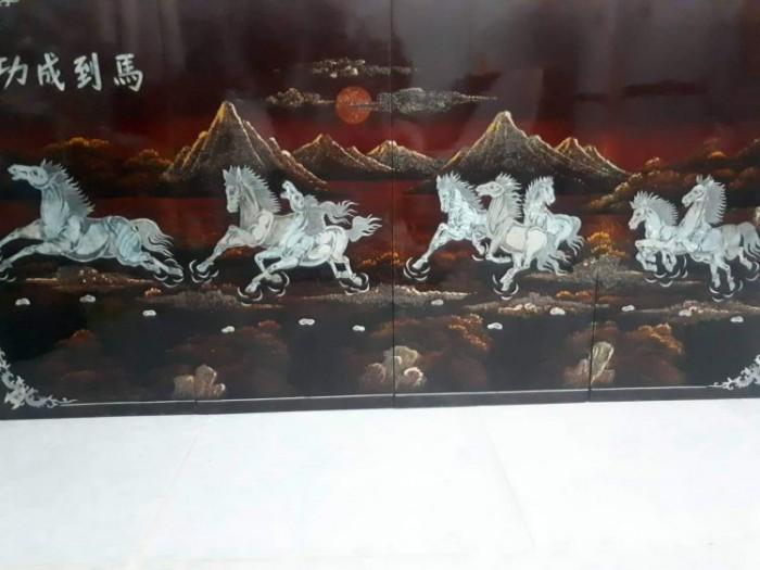 tranh sơn mài khảm trai Mã Đáo Thành Công còn đẹp 95%1