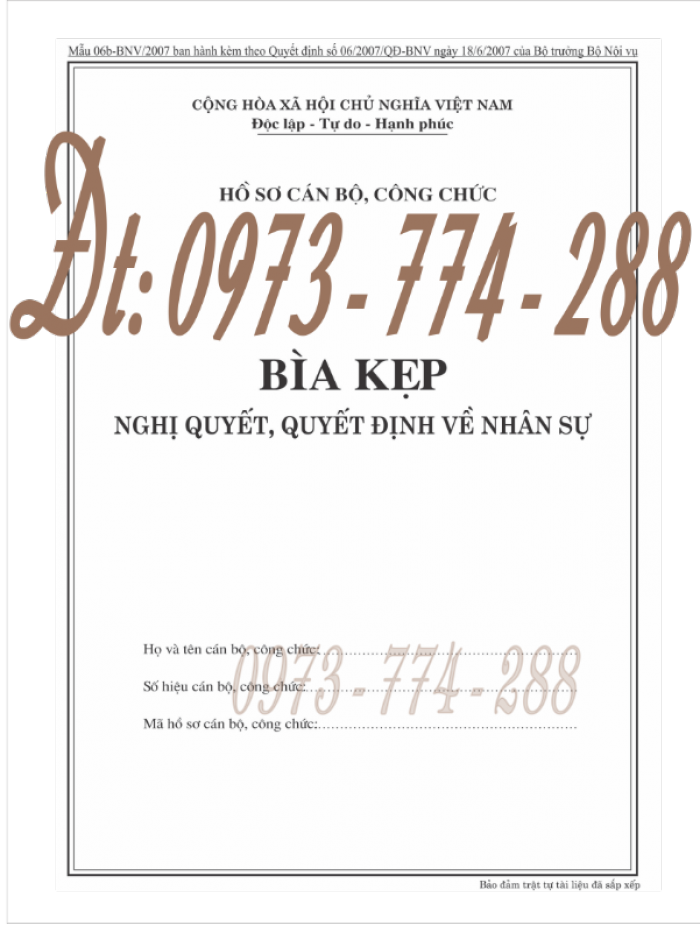 Bìa kẹp nghị quyết, quyết định về nhân sự theo thông tư số 07/2019/TT-BNV ngày 01/6/201913