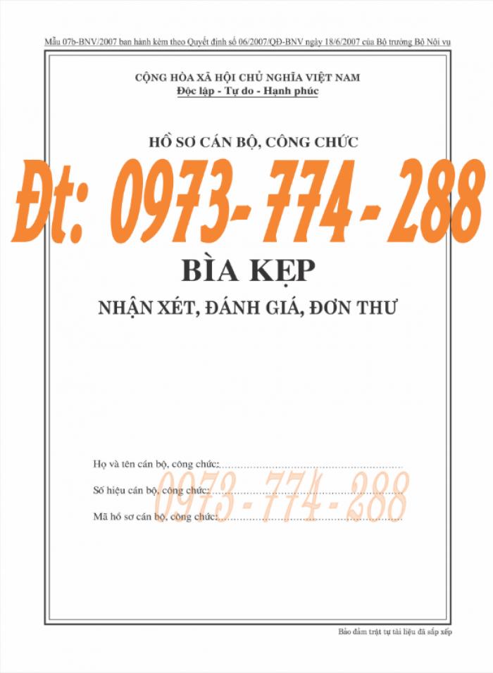 Bìa kẹp nghị quyết, quyết định về nhân sự theo thông tư số 07/2019/TT-BNV ngày 01/6/201914