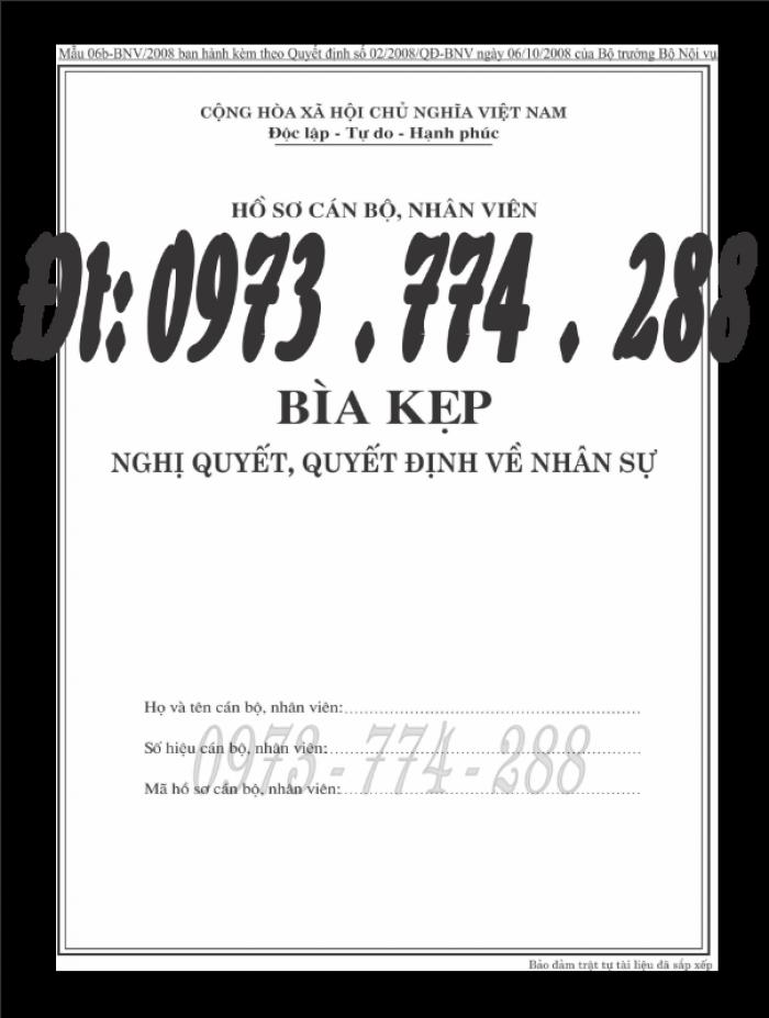 Bìa kẹp nghị quyết, quyết định về nhân sự theo thông tư số 07/2019/TT-BNV ngày 01/6/201917