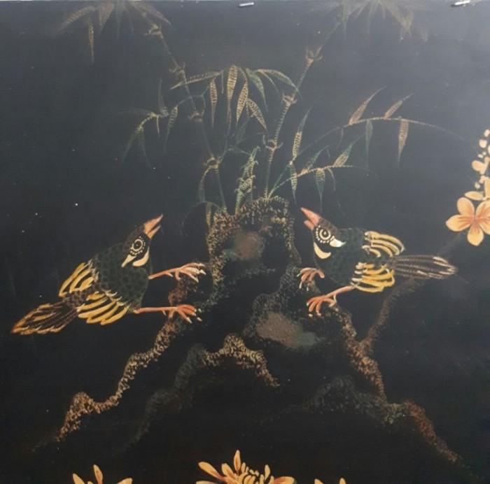Tranh sơn khắc xưa kích thước 50x98cm3
