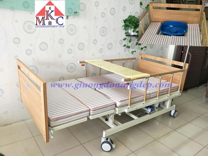 Giường bệnh đa năng MKC-Medical 4 tay quay 12 chức năng, ốp gỗ2