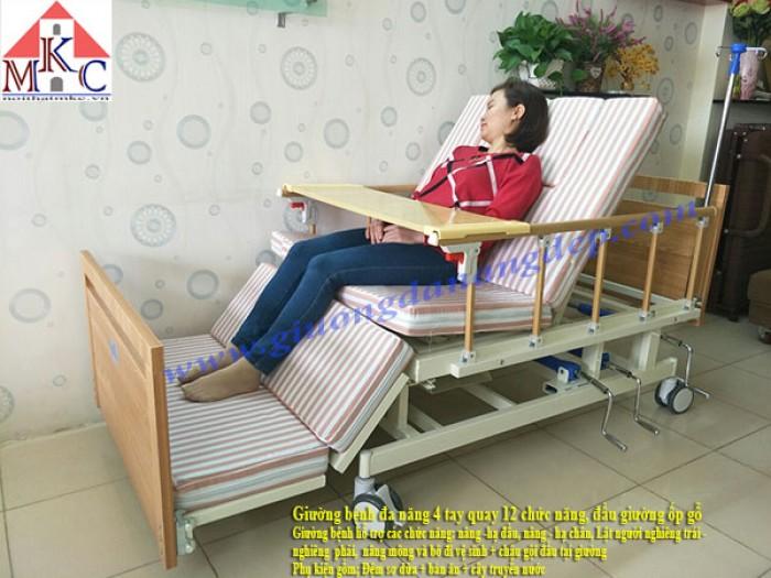 Giường bệnh đa năng MKC-Medical 4 tay quay 12 chức năng, ốp gỗ4