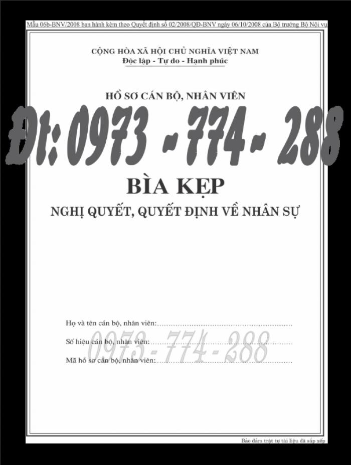 Bìa kẹp nhận xét đánh giá đơn thứ theo Thông tư số 07/2019/TT-BNV ngày 01/6/201917