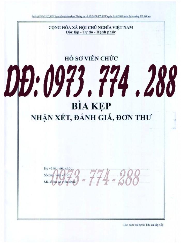 Bìa kẹp nhận xét đánh giá đơn thư Mẫu HS09b-VC/BNV0