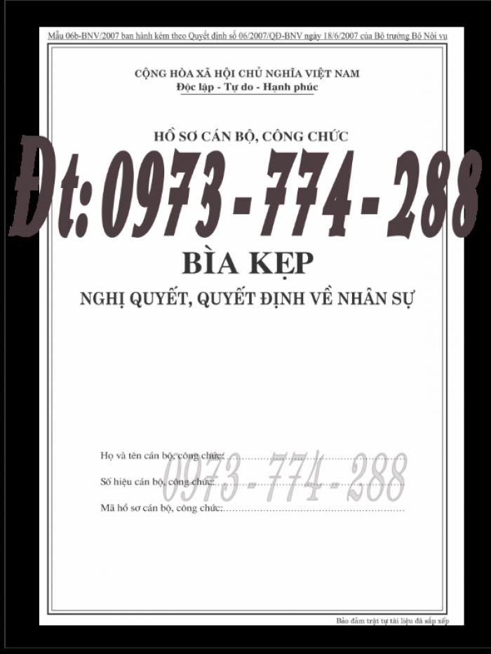 Bìa kẹp nhận xét đánh giá đơn thư Mẫu HS09b-VC/BNV4