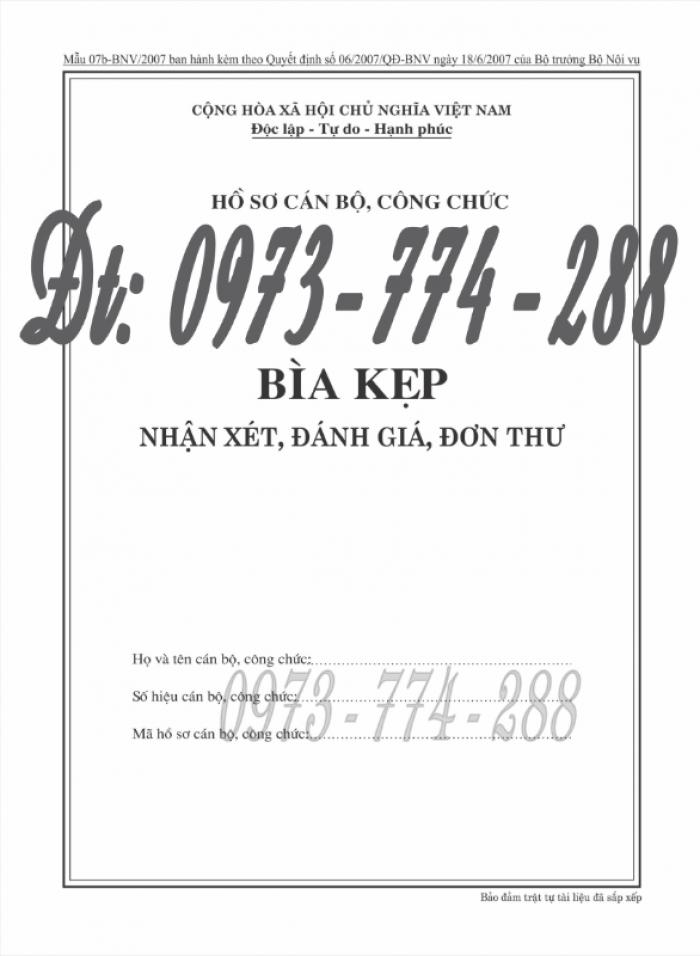 Bìa kẹp nhận xét đánh giá đơn thư Mẫu HS09b-VC/BNV5
