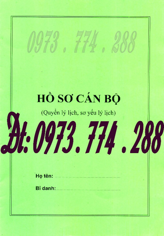 Bìa kẹp nhận xét đánh giá đơn thư Mẫu HS09b-VC/BNV8
