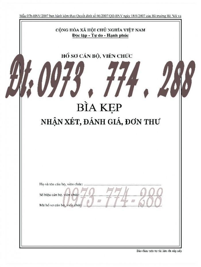 Bìa kẹp nhận xét đánh giá đơn thư Mẫu HS09b-VC/BNV10