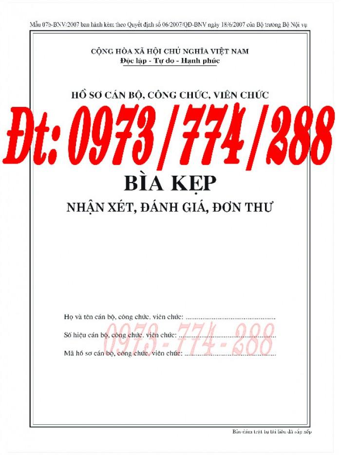 Bìa kẹp nhận xét đánh giá đơn thư Mẫu HS09b-VC/BNV14