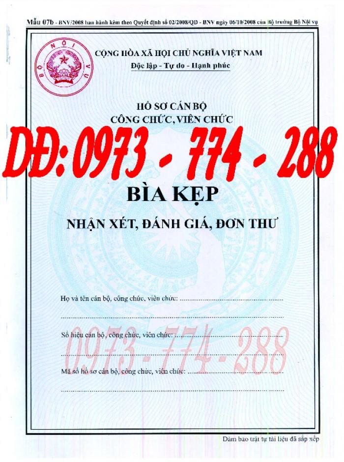 Bìa kẹp nhận xét đánh giá đơn thư Mẫu HS09b-VC/BNV17