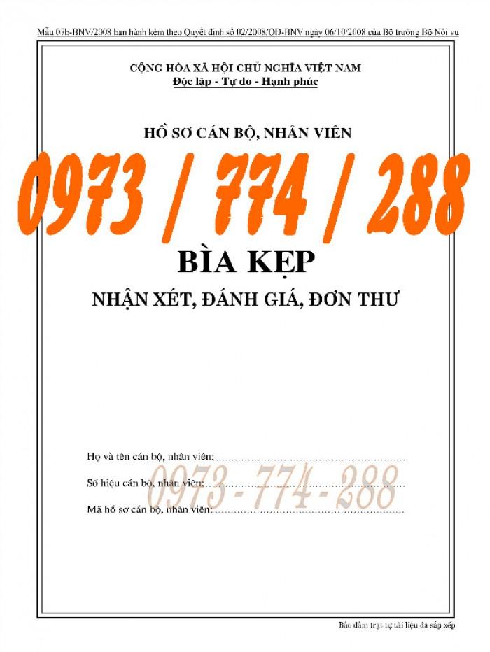 Bìa kẹp nhận xét đánh giá đơn thư Mẫu HS09b-VC/BNV20