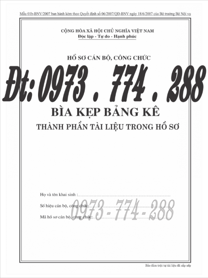 Bìa kẹp nhận xét đánh giá đơn thư Mẫu HS09b-VC/BNV23