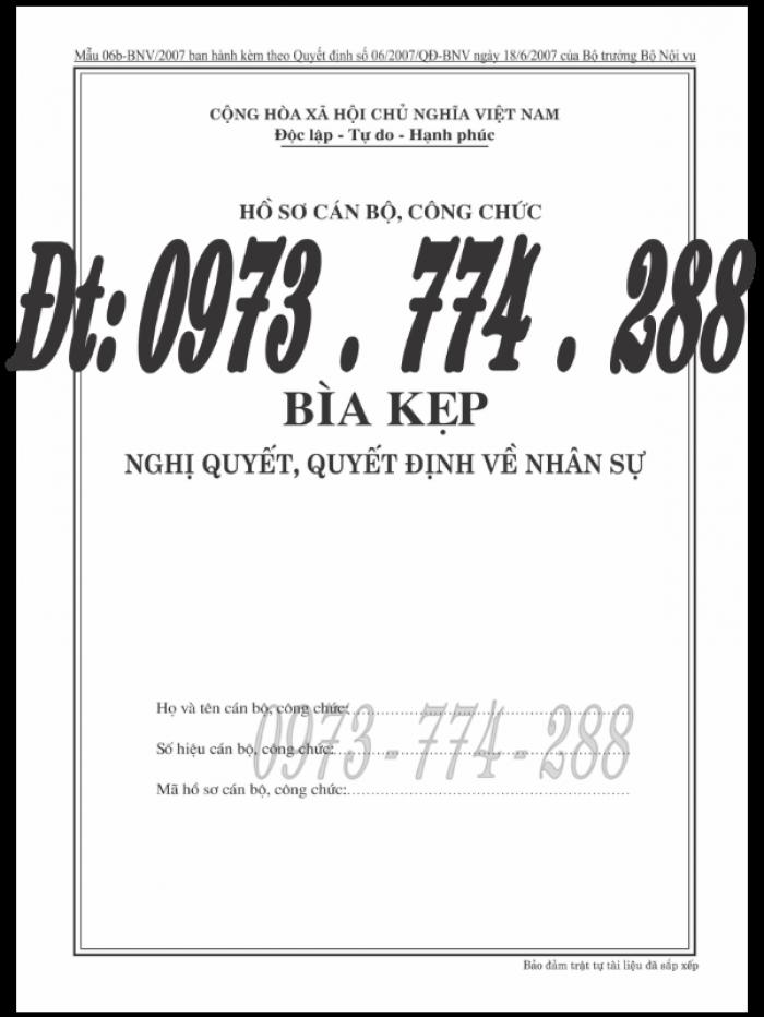 Bìa kẹp nhận xét đánh giá đơn thư Mẫu HS09b-VC/BNV24