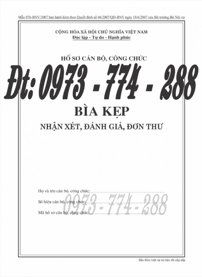 Bìa kẹp nhận xét đánh giá đơn thư Mẫu HS09b-VC/BNV25