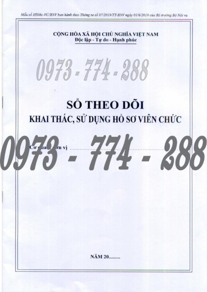 Bán 3 sổ đăng ký hồ sơ viên chức, sổ giao nhận hồ sơ, sổ theo dõi khai thác, sử dụng hồ sơ viên chức3