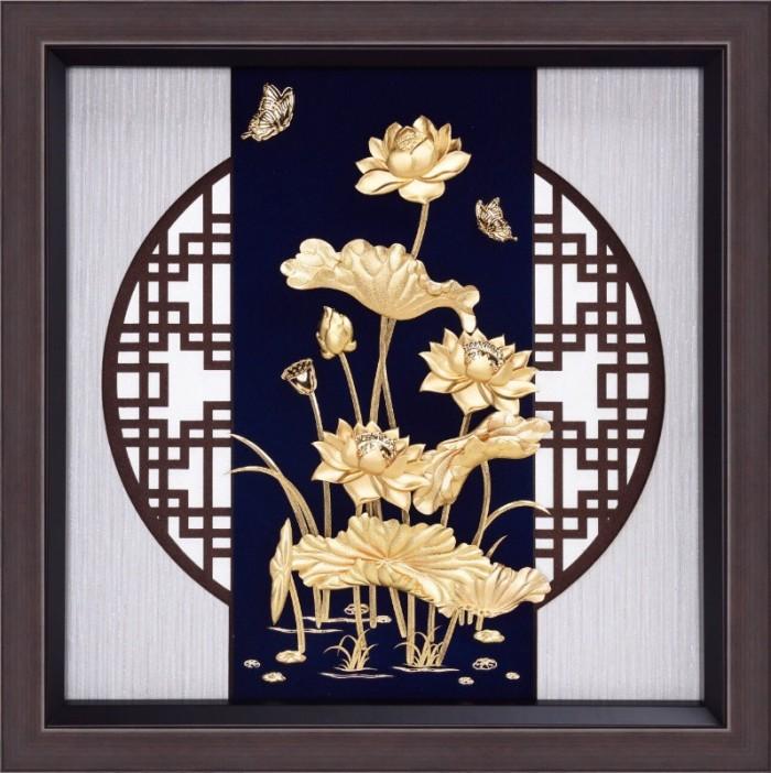 Tranh liên hoa mạ vàng 24k,tranh quà tặng sang trọng0