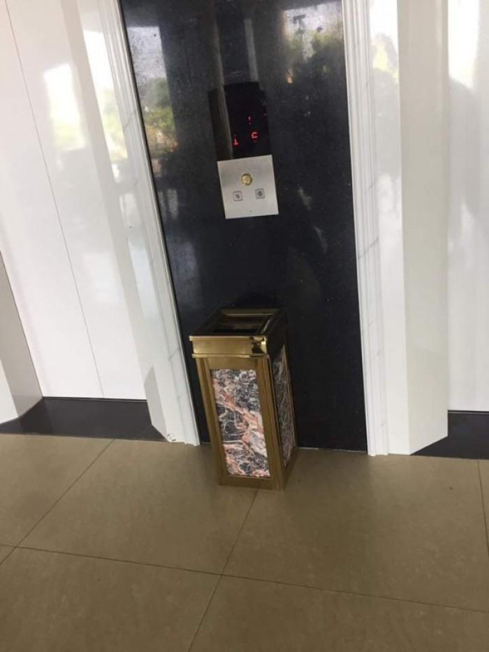 Thùng rác đá hoa cương có gạt tàn - Dụng cụ khách sạn Thiên An0