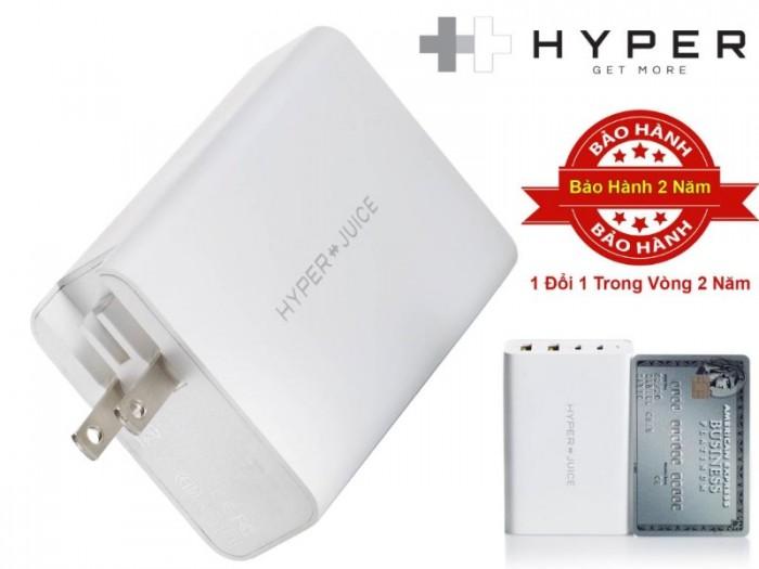 Sạc đa cổng HYPERJUICE GAN 100W USB-C Charger:  Kích thước chỉ bằng một chiếc thẻ tín dụng HYPERJUICE GAN 100W USB-C Charger là bộ sạc Gallium Nitride 100W đầu tiên trên thế giới và cũng là bộ sạc 100W nhỏ nhất thế giới nhỏ hơn 50% so với bộ sạc truyền thống hiện tại.0