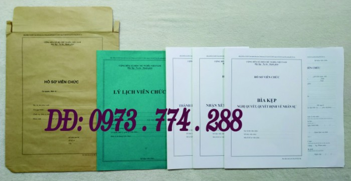 Hồ sơ cán bộ Viên chức (Mẫu HS09a-VC/BNV - B01/BNV - B02/BNV - B03/BNV - B04/BNV - B05/BNV)10
