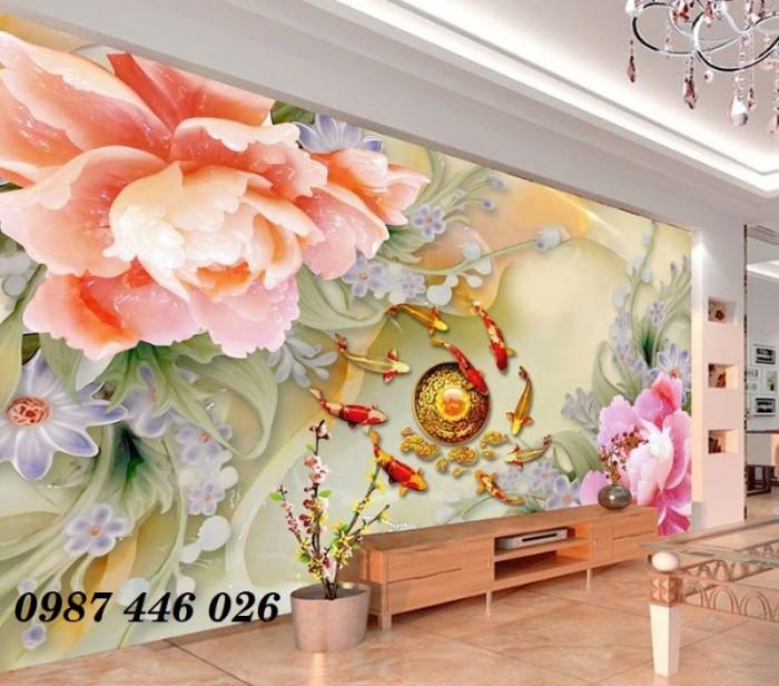 Tranh hoa mẫu đơn giả ngọc 3d- tranh gạch ốp tường0