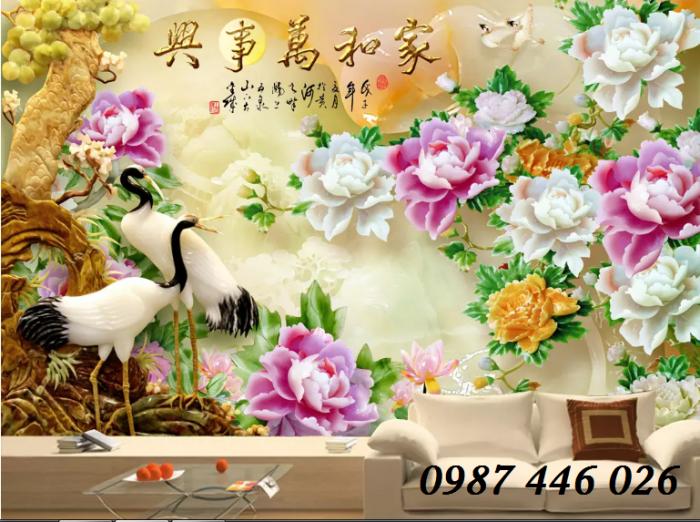 Tranh hoa mẫu đơn giả ngọc 3d- tranh gạch ốp tường1