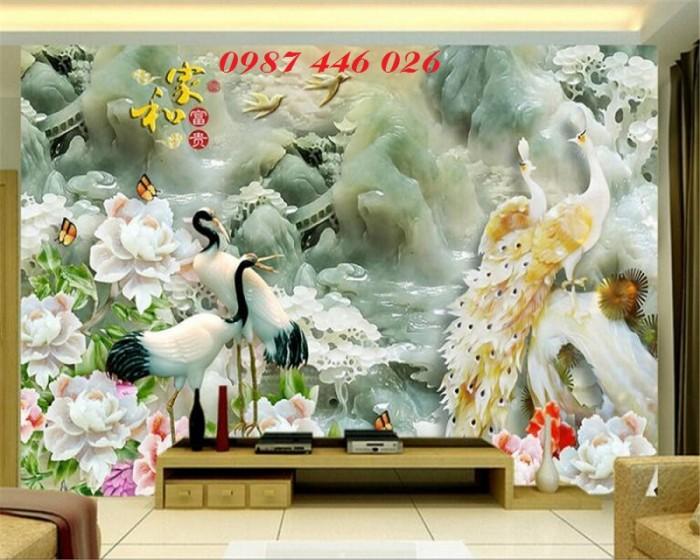 Tranh hoa mẫu đơn giả ngọc 3d- tranh gạch ốp tường2