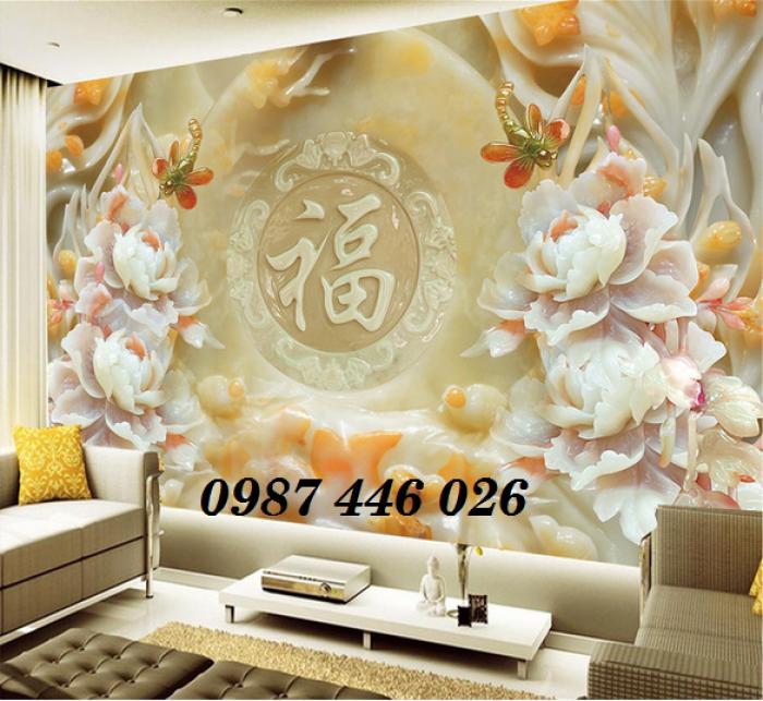 Tranh hoa mẫu đơn giả ngọc 3d- tranh gạch ốp tường3