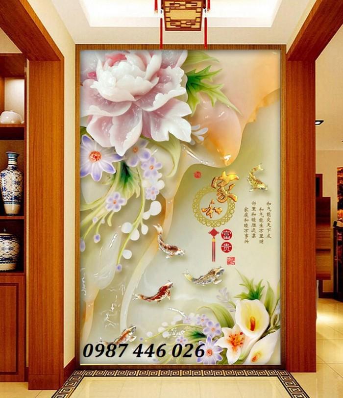 Tranh hoa mẫu đơn giả ngọc 3d- tranh gạch ốp tường5