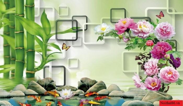 Tranh hoa mẫu đơn giả ngọc 3d- tranh gạch ốp tường7