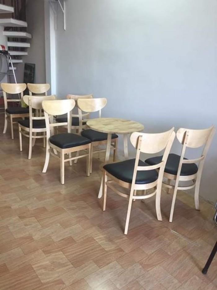 Thanh lý Bộ bàn 4 ghế gỗ cafe bọc đệm cao cấp2