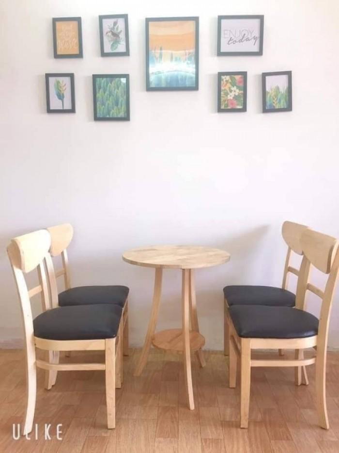 Thanh lý Bộ bàn 4 ghế gỗ cafe bọc đệm cao cấp1