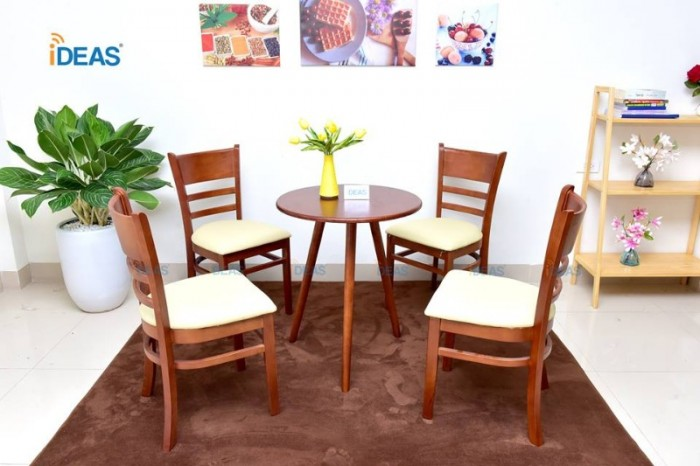 Thanh lý Bộ bàn 4 ghế gỗ cafe bọc đệm cao cấp0