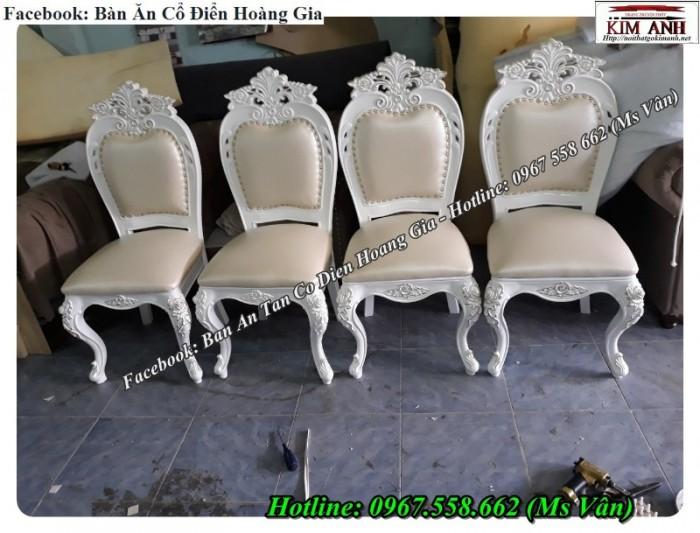 mẫu ghế ăn tân cổ điển châu âu màu trắng5