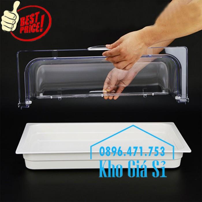 Nắp nhựa mica mở 180 độ đậy thức ăn - Nắp nhựa mica trong suốt mở 1/2 đậy khay buffet tại HCM0